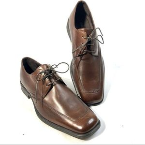 JOHNSTON MURPHY Brown Leather Lace up Square Toe